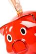 Sparschwein in rot