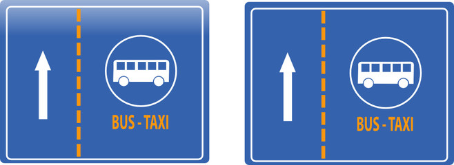 bus and taxi lane traffic sign