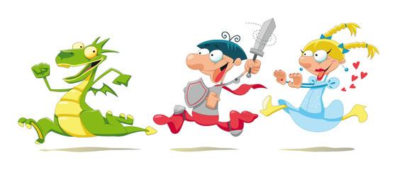 Dragon, Prince and Princess. Cartoon and vector scene.