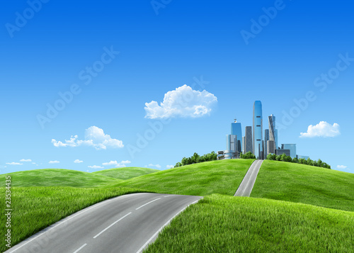 Very detailed 7000px city on horizon