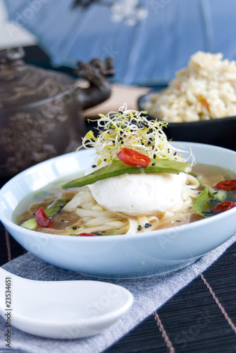 Chinese broth with poached egg