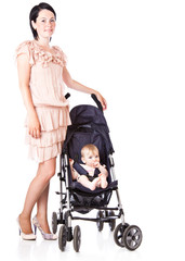Young mother with baby in perambulator