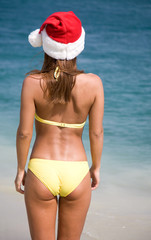 woman in  bikini and hat of Santa Claus