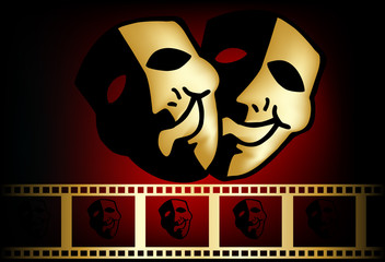 red gold theatrical mask of tragedy and comedy vector