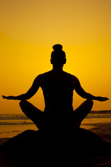 Yoga sitting pose silhouette