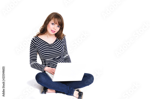 girl using notebook