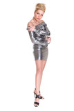 Sexy woman dancing inSilver dress