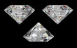 Three different side views of large diamond