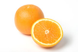 Two oranges, one intersected to half. With clipping path poster