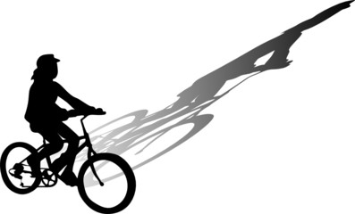 child riding bicycle vector illustration