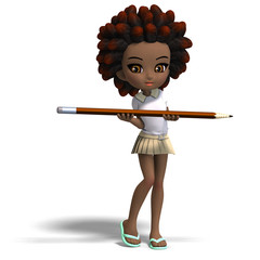 cute little cartoon school girl with curly hair. 3D rendering wi