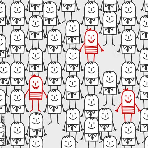 cartoon crowd - seamless pattern