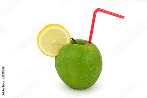 Fresh Apple juice isolated on white background