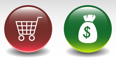 Glossy Shopping Cart & Money Bag Sign Icons