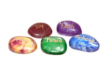 five inscribed affirmation stones