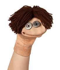 Funny sock puppet smiling