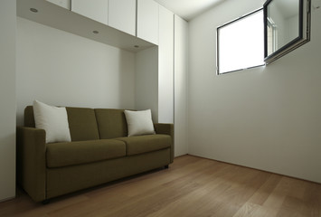 modern sofa in a small room