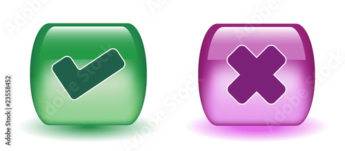 Aqua Tick & Cross Sign Icons