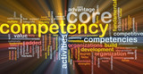 Core competency word cloud glowing poster