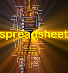 Spreadsheet word cloud glowing