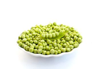 Peas in a white plate