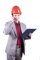 smiling engineer talking on phone