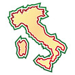 Sketched map of Italy