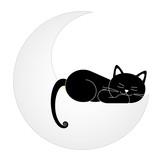 Gato durmiendo encima de la luna poster