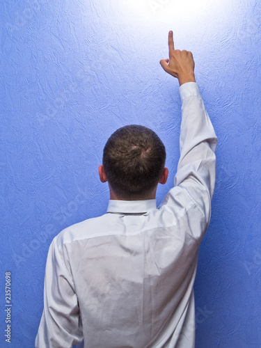businessman finger up