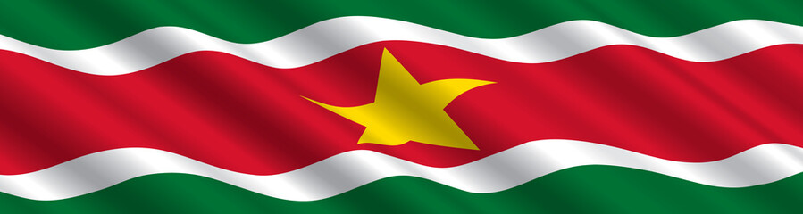 Suriname Flag in the Wind