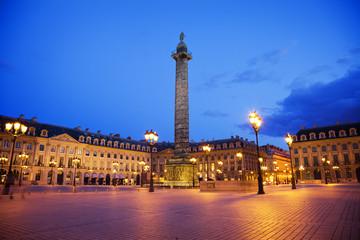 Famous place Vendôme at night. Paris France