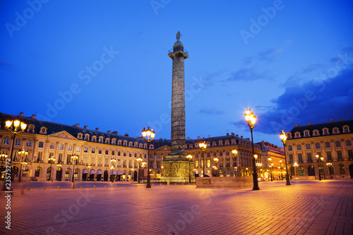 Famous place Vendôme at night. Paris France