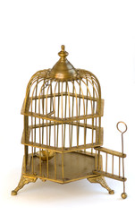 Brass ornate birdcage with open door.