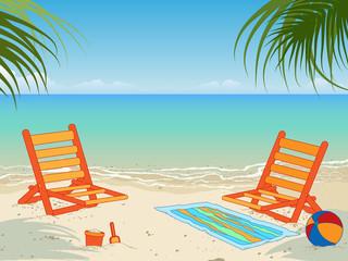 Tropical beach scene, vector