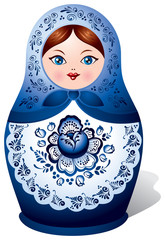 Matryoshka with Gzhel ornament