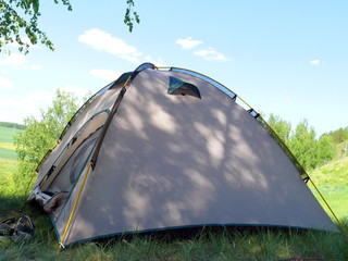 Tent in hill slope