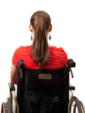 young invalid woman in red blouse on the wheelchair