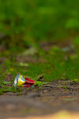 Polluted nature series. Wasted yellow-red can
