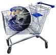 Shopping cart with earth globe isolated on white. clipping path
