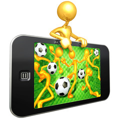 Gold Guy With Mobile Touch Screen Device Soccer