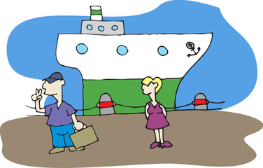 couple traveling on the boat