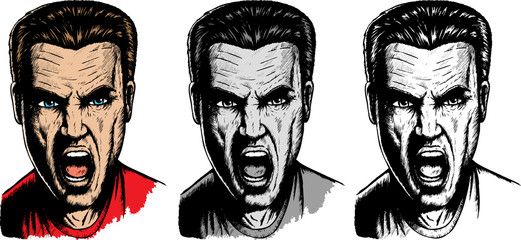 Yelling dude in three different versions.
