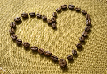 a heart of coffee beans