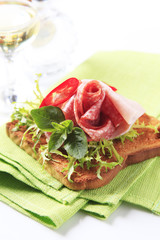 Toast with salami and ham