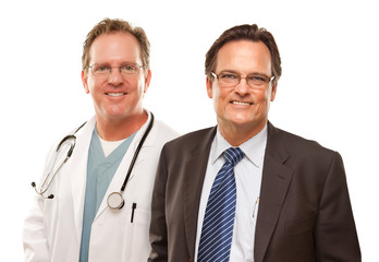 Smiling Businessman with Male Doctor or Nurse