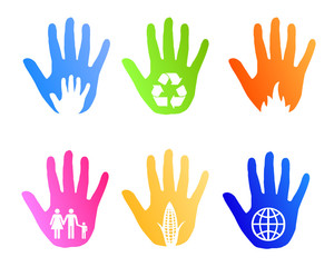 social environemtn and help icons vector with hands