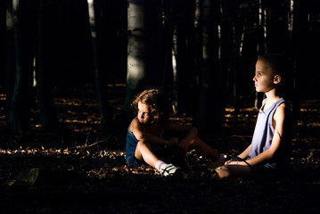 Hansel and Gretel, sister and brother alone in the woods