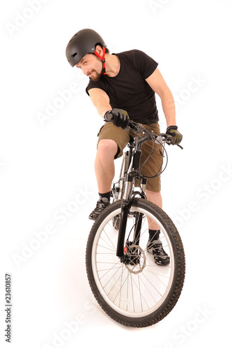 The bicyclist on white