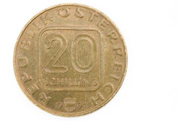 Vorderseite einer 20 Schillingmünze aus dem Jahr 1991