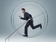 businessman in 3d hamster wheele